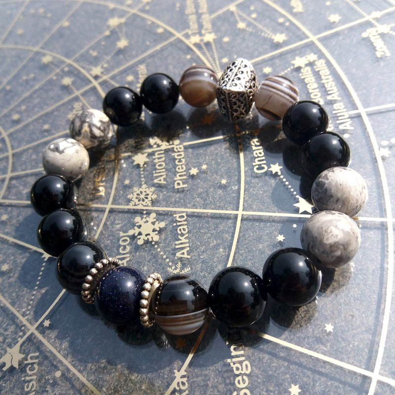 【Starry Night】Stone Bracelet / Blue Sandstone X Quartz X Black Agate X Onyx