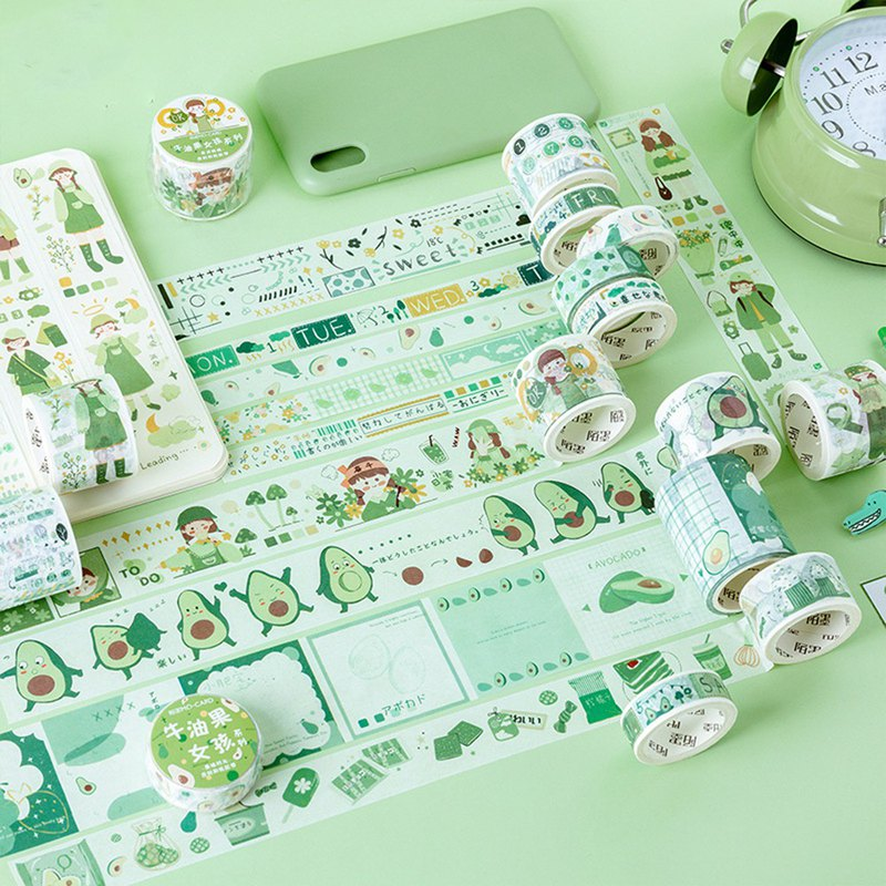 Mo Mo and paper tape avocado girl series Japanese cute hand diary DIY decorative stickers