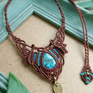 N62 Boho ethnic style South American wax line braided brass blue mineral (Azurite) necklace