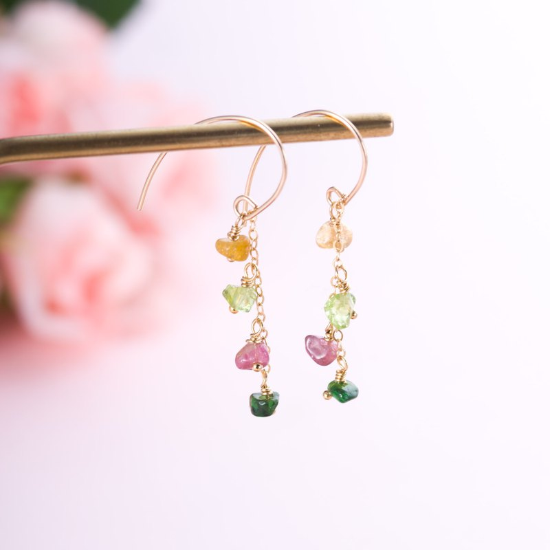 Tourmaline, 14K Gold Filled Natural Gemstone Crystal Earrings