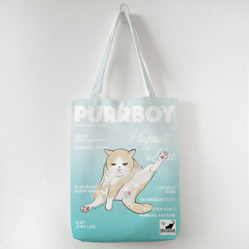 Cover Cat Model Tote Bag Cream White