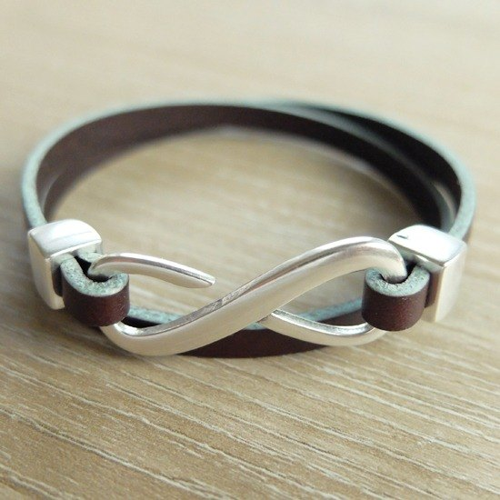 Lucky Infinity Leather Bracelet Silver Fastener (Dark Brown/Tiffany Blue)