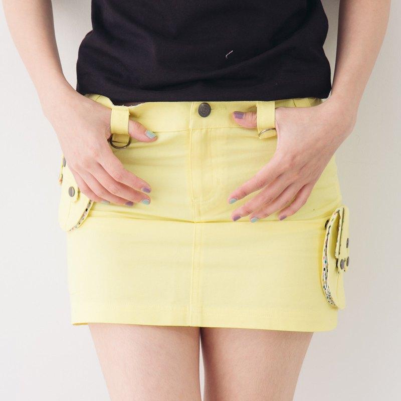 可拆式立體口袋學院風百搭短裙-鵝黃色