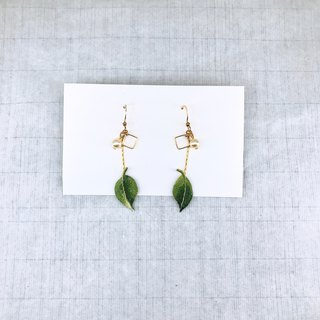 Flower Leaf Hand Embroidery Earrings