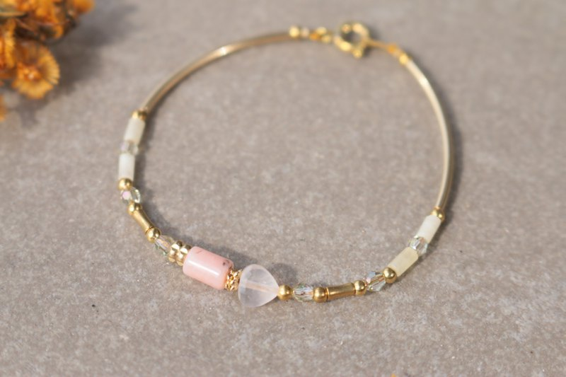 Rose Stone Natural Stone Brass Bracelet 1127-June