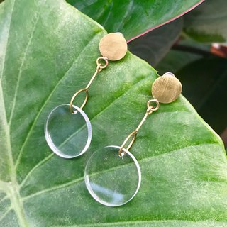 Shiny bright circle brass earrings