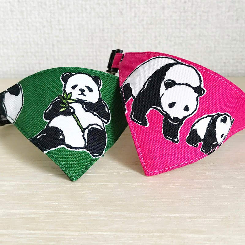 [Panda daily pattern] Bandana-style safety collar for cats Safety collar Cat collar
