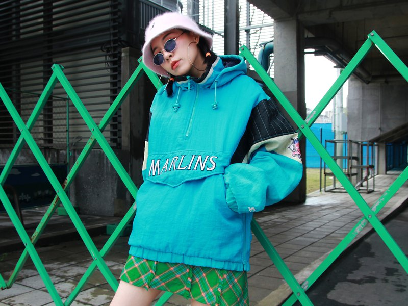///Fatty bone/// STARTER SBL MARLINS Hooded Half Zipper Windproof Vintage