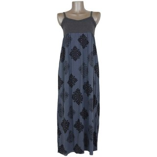 Quilt pattern camisole long dress <gray>