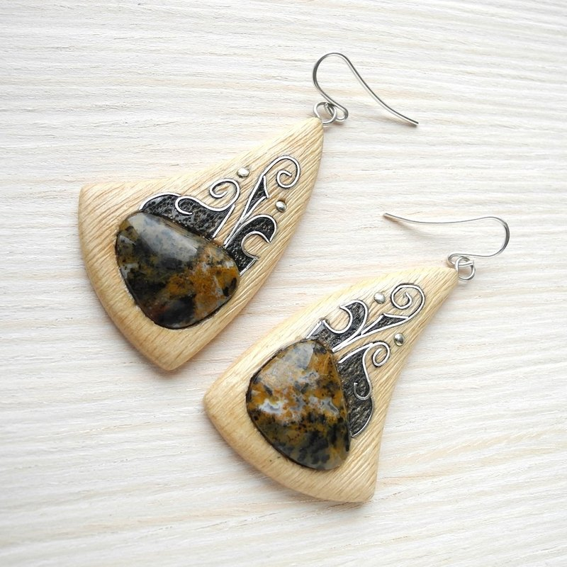 Wooden earrings with silver inlay