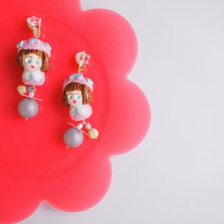 Clay earrings pink pearl girl earrings ear clip