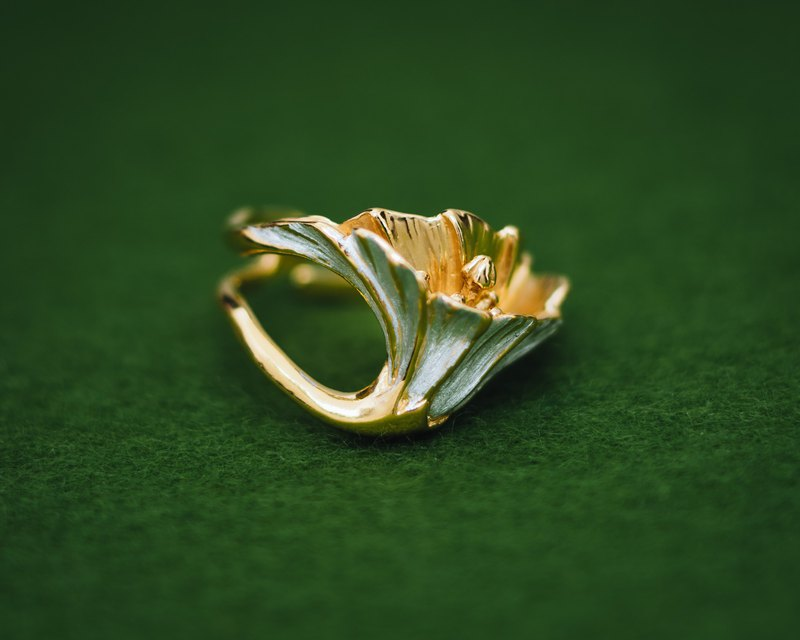 Classic Flower - Adjustable ring - Japanese flower - Gold and silver ring