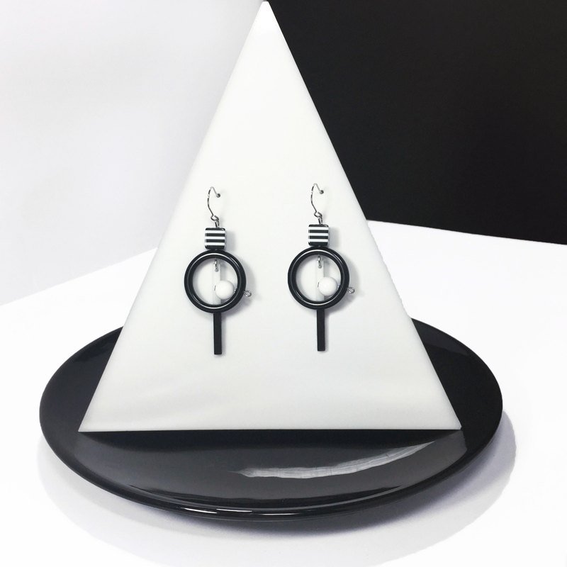 Earrings black and white stripes geometric equation