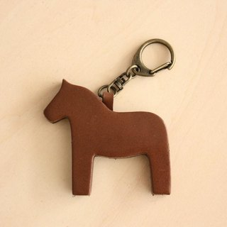 Leather Horse Keychain Brown