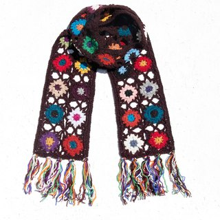 Limited amount of hand-woven hooks wool scarves / flowers hook woven scarves / hook woven scarves / hand-woven scarves / flowers woven stitching wool scarves - romantic brown forest wind flowers scarves