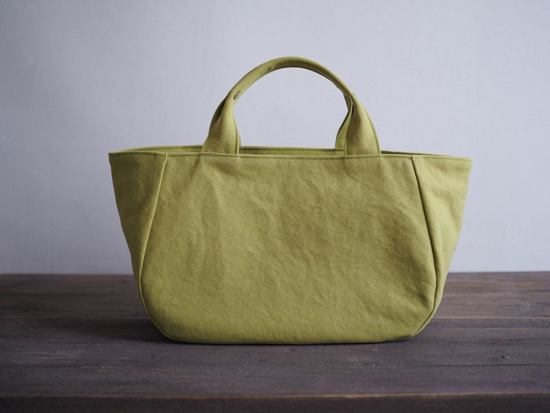Round tote with lid M hya green