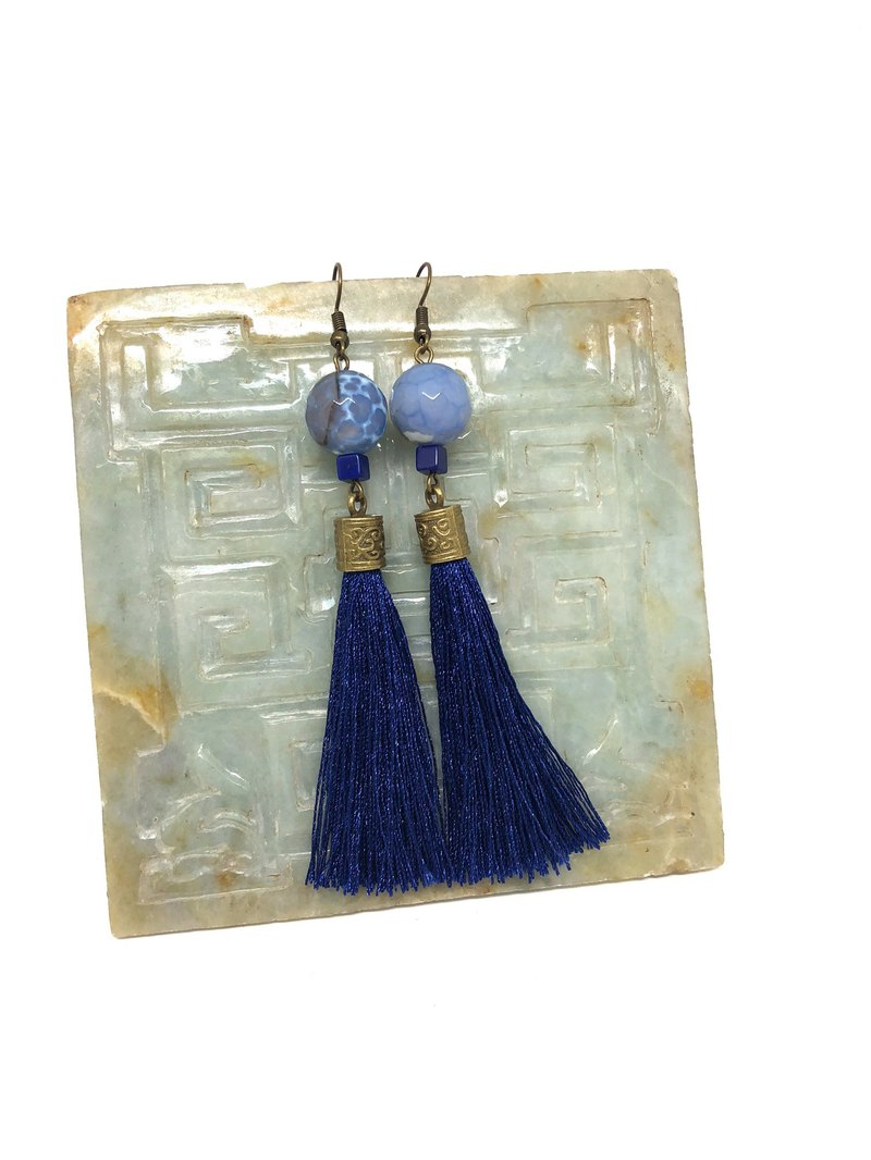 Blue Vintage Earrings Dragon Stone Jade Tassel Earrings