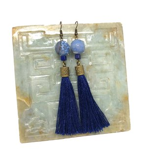 Blue Vintage Earrings 龍紋石玉石流蘇耳環