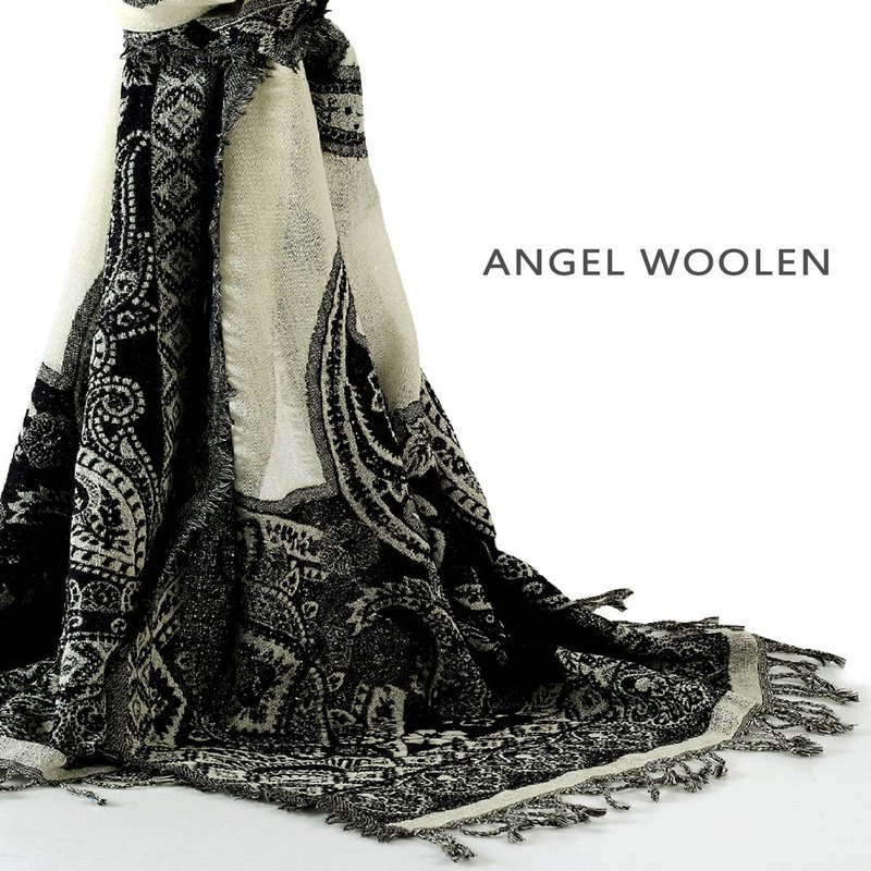 [Angel Woolen] Perfect Star Indian Handmade 100% Wool Wool Shawl Scarf (Black and White)