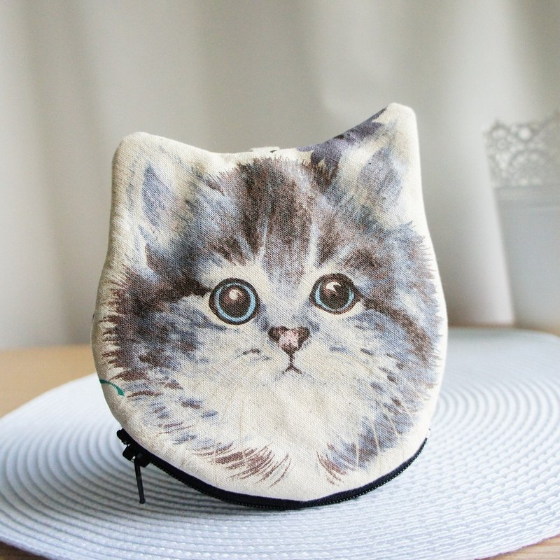 Lovely [Japanese cloth order] hand-painted wind cat head coin purse, B