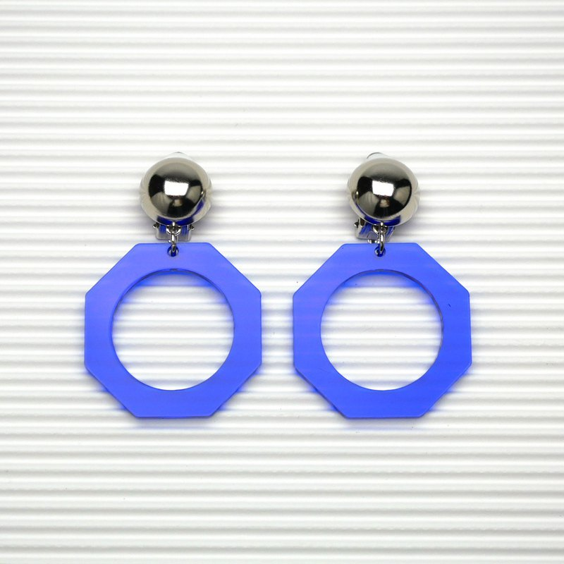 / Metal Hemisphere + Navy Blue Octagon Geometric Earrings - Vintage Series no.01 / Ear clips