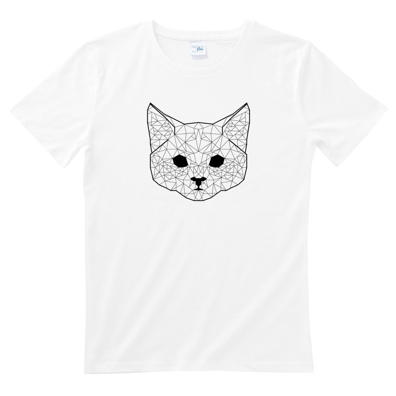 Geometric Cat #2 white t shirt