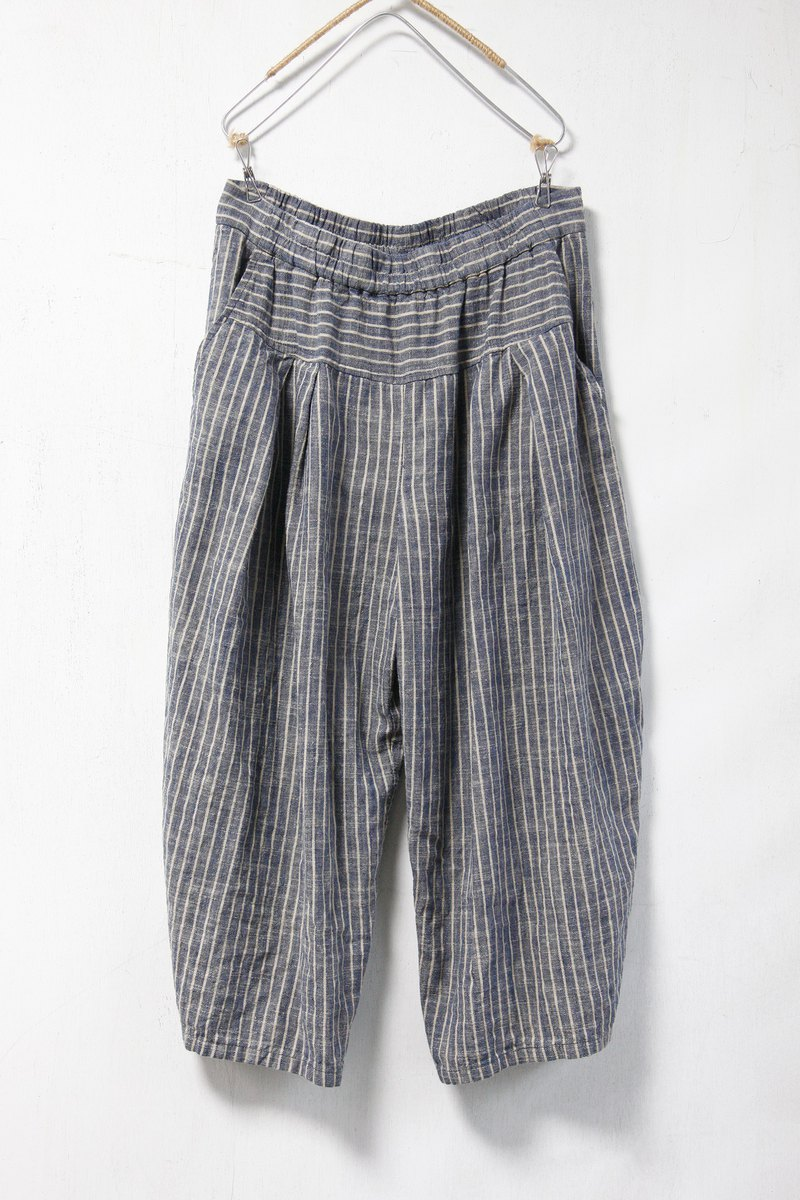 Sea _ sailor's meditation linen striped wide pants