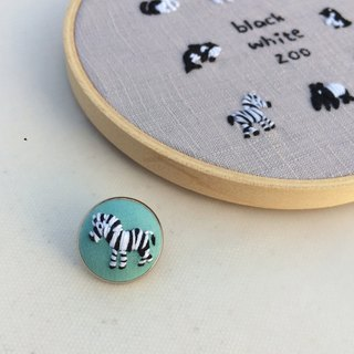 Zebra black and white zoo hand embroidery pin