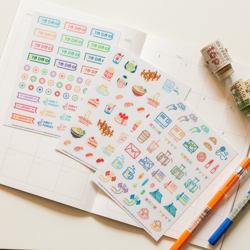 PLANNER STICKER SET 3 IN 1 ,Useful Planner Sticker,Funny Sticker, Goodybag