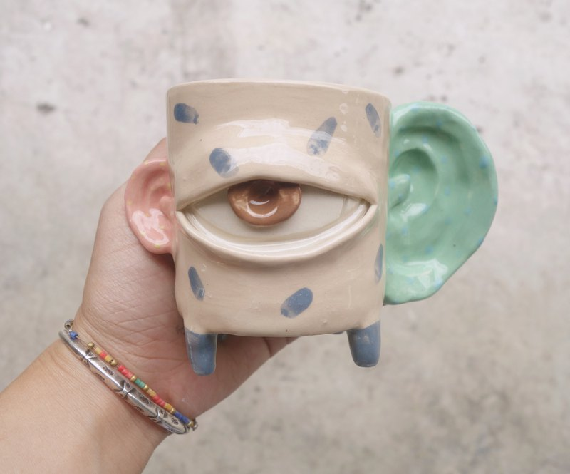 Handmade ceramic mug cup eyes big ear in pastel :)