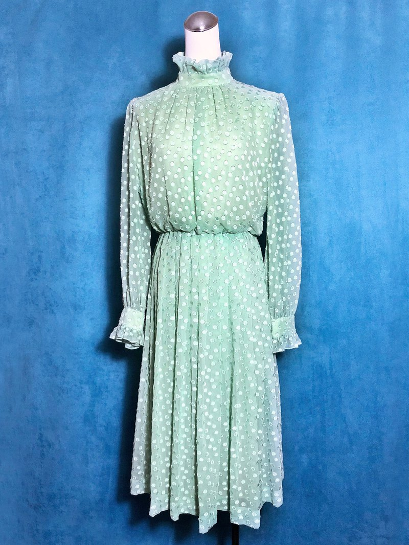 Victorian lotus leaf collar light antique dress / abroad brought back VINTAGE