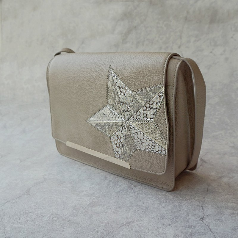 Italian cowhide with star snakeskin big crossbody bag