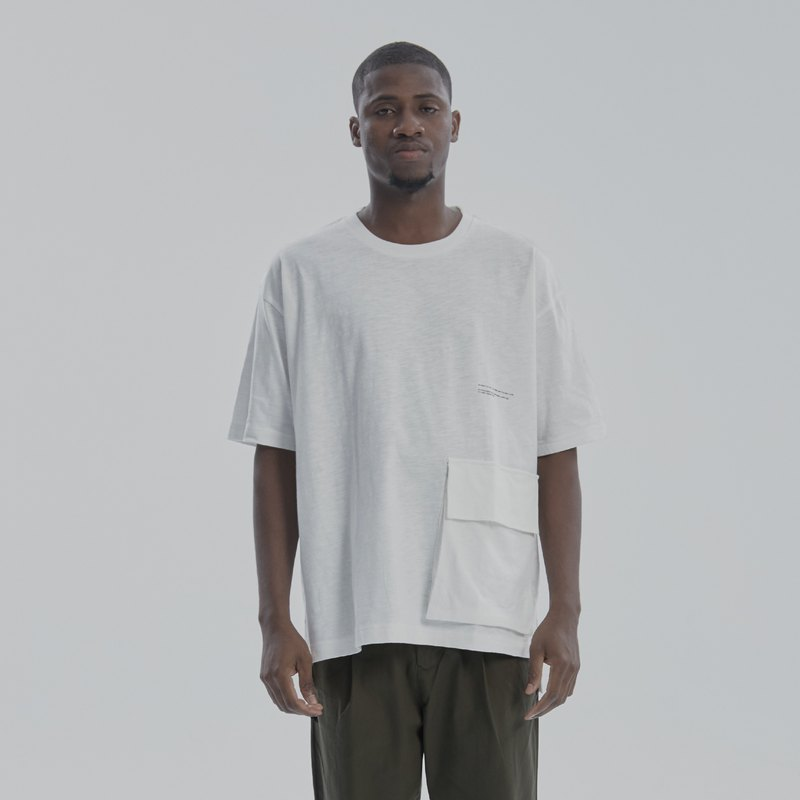 DYCTEAM - Bamboo Cotton Drop Shoulder Stereo Pocket Tee (WH)