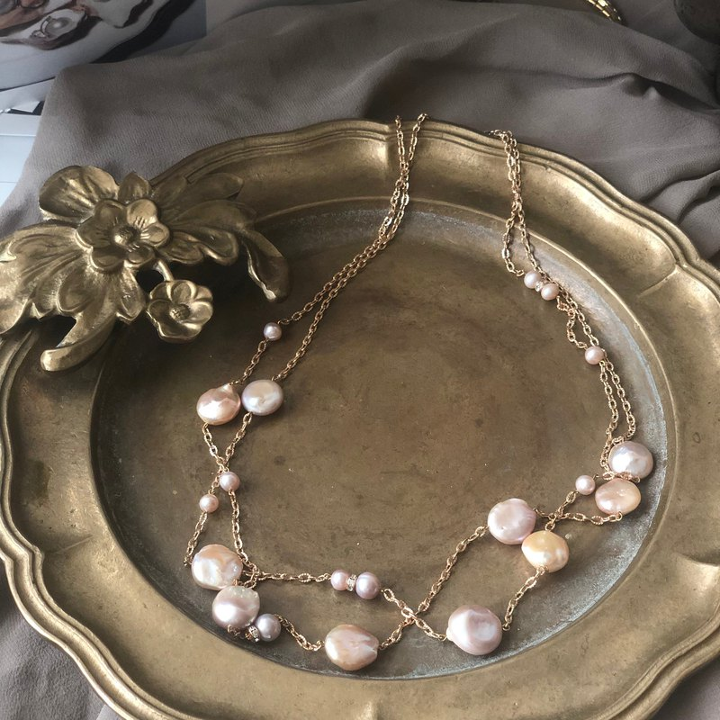 Champagne pink pearls necklace
