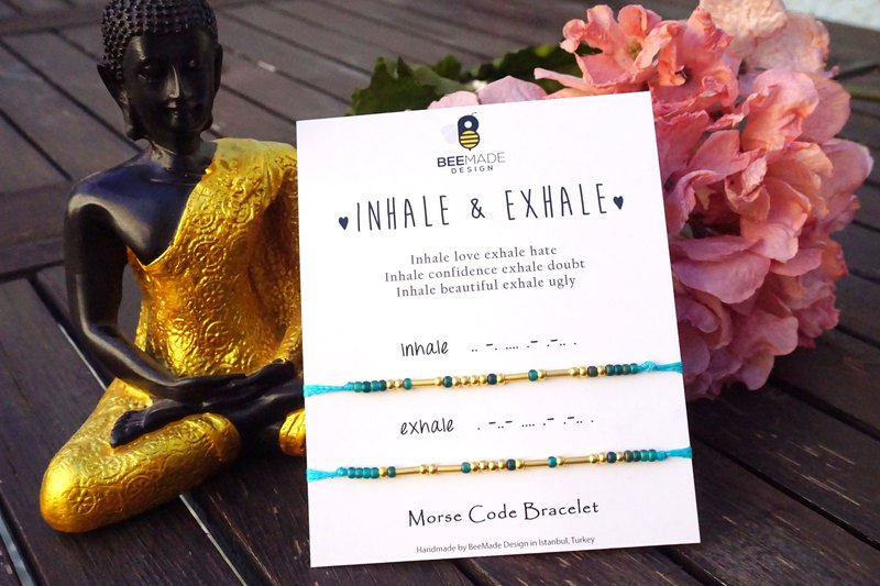 Inhale Exhale Morse Code Bracelet Christmas Gift for Yoga Lovers