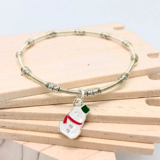Snowman Silver Beads Bracelet - Party Queen - Double Sided Patterned