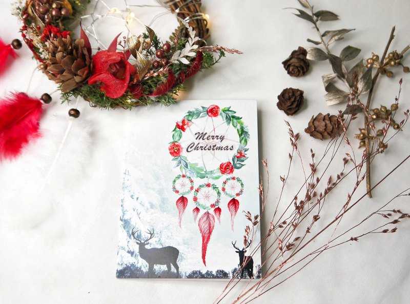 Floral Dreamcatcher Christmas Card - Original Design