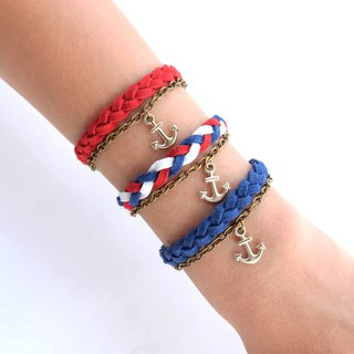 Suede cord braided bracelet with chain and anchor charm / available in 3 colors