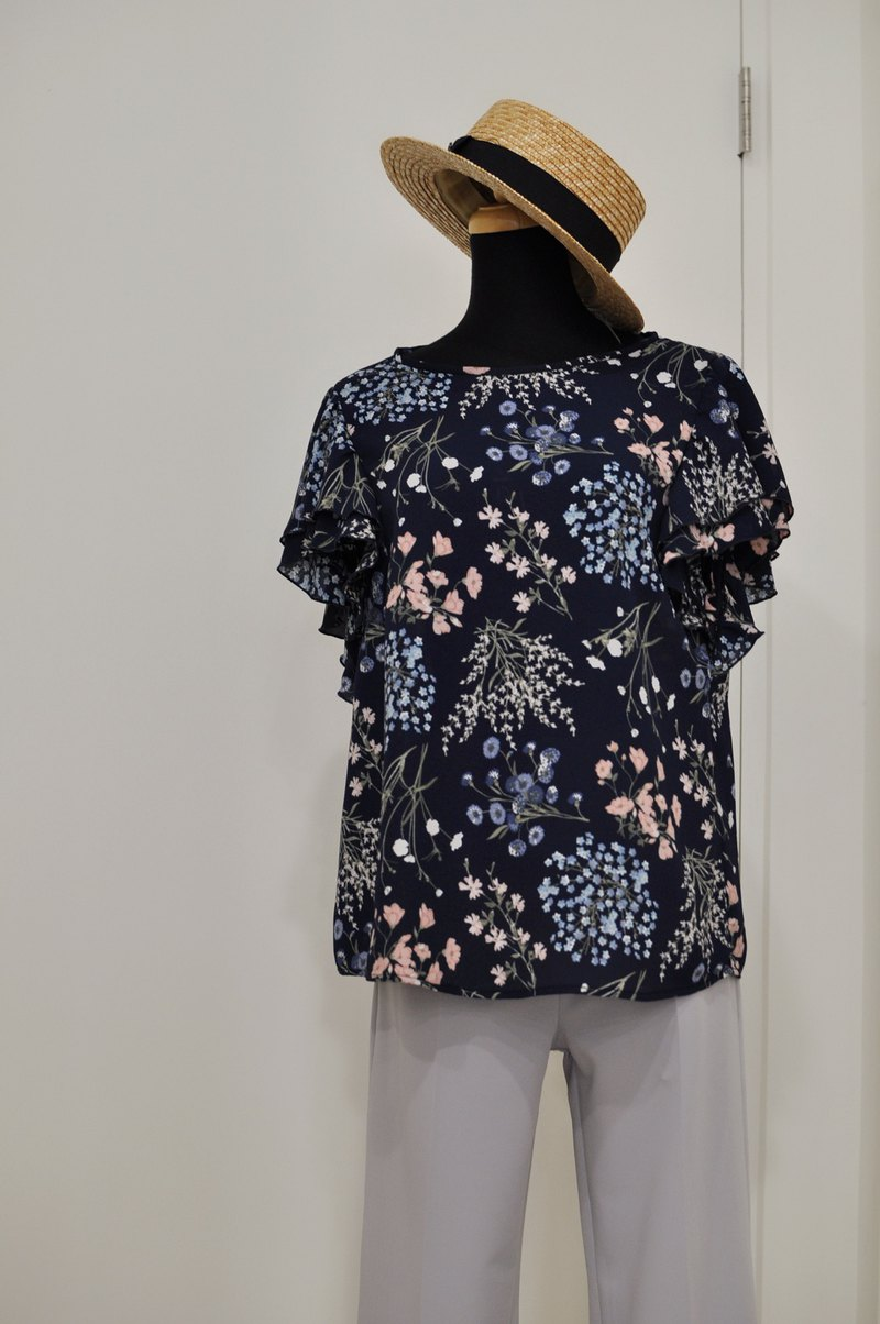 Flat 135 X Taiwanese designer blue Pu Gongying chiffon fabric double layer lotus leaf sleeve shirt