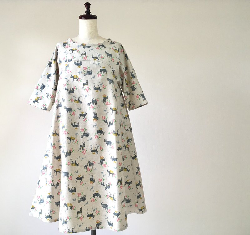 Donkey and floral flare One piece cotton linen