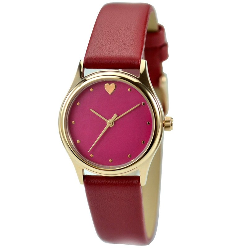 Mother's day - Elegant Watch with heart red face and band (Small size)