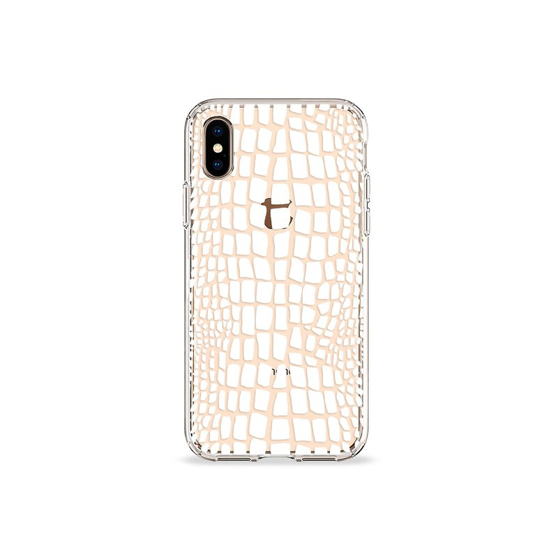Crocodile Print White Clear iPhone Case