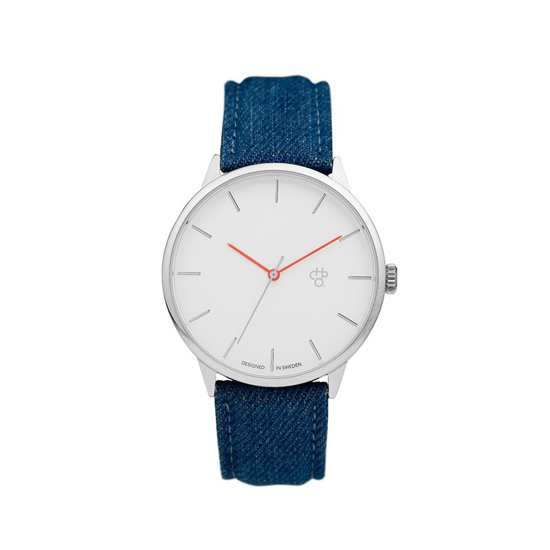 Khorshid series silver white dial blue cowboy watch
