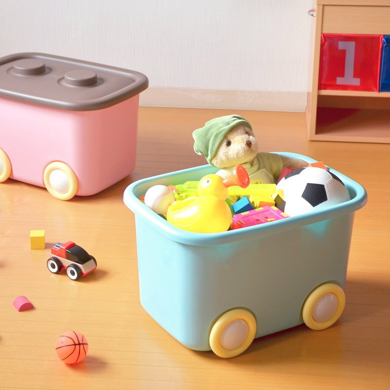 Japanese made Shinwa stretch and toy clothing can be folded and fixed storage box L (32L) - with wheel - 2 into