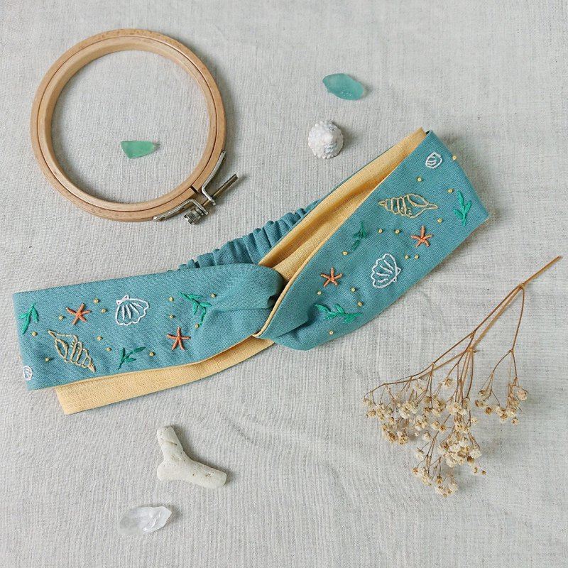 The Inspiration From Ocean-Shell Beach Embroidery Headband