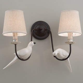 Country wind bird decoration cloth lampshade wall lamp