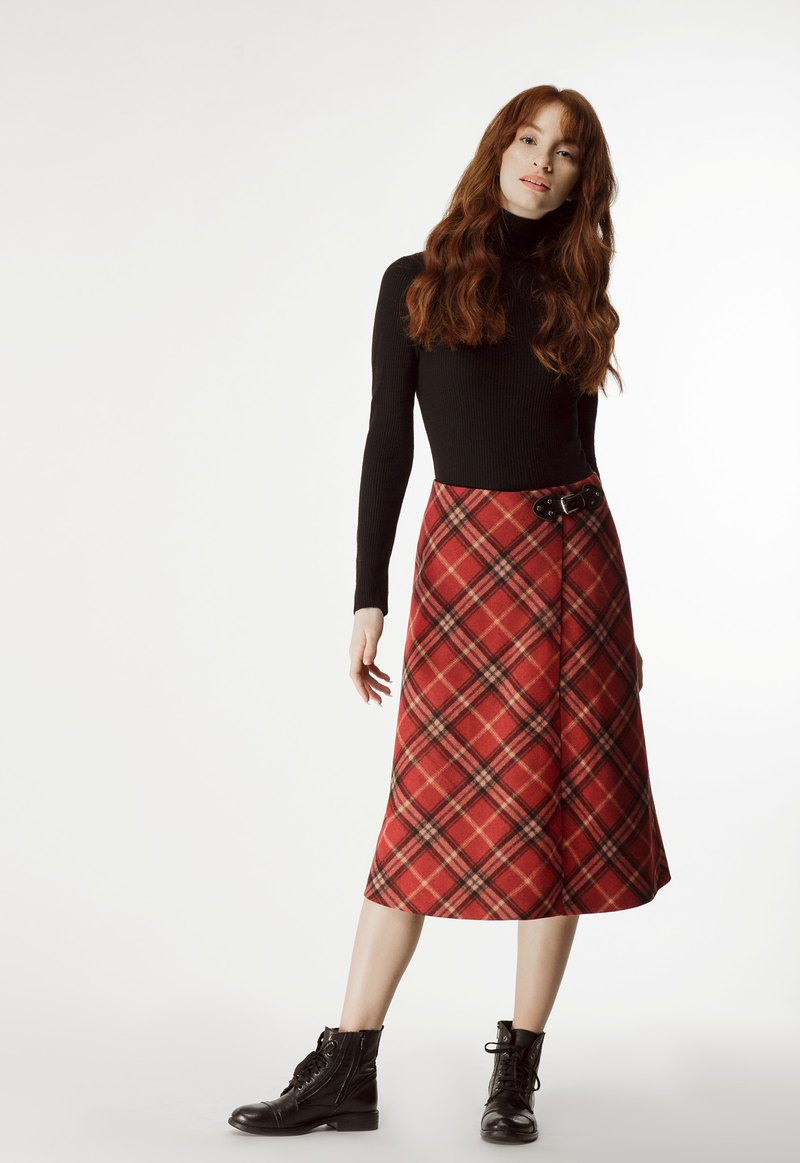 Buckled Checked Wool Skirt