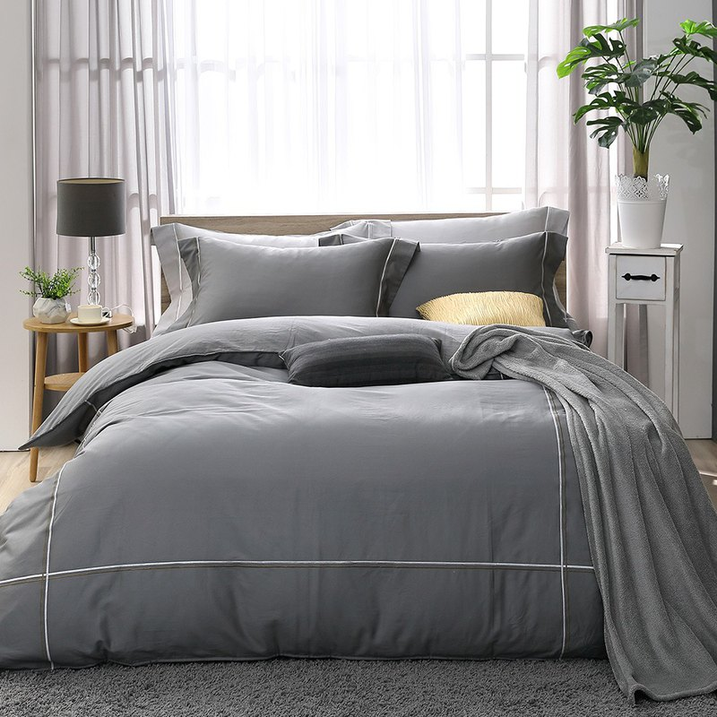 (Double) two-color embroidery Odin gray - high quality 60 cotton dual-use bed bag four-piece group -5*6.2 feet