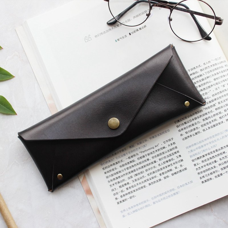 Black leather large capacity pencil case stationery bag glasses case can be customized free lettering exchange gift