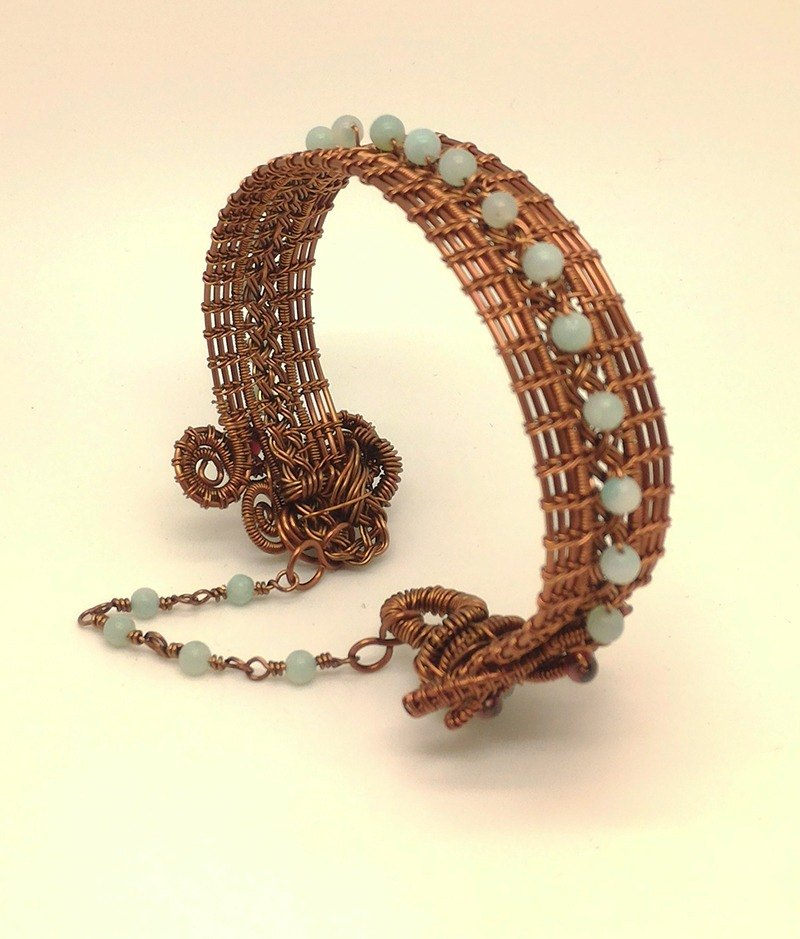 【JTBREW】 metal wire woven Tianhe stone + garnet bracelet retro red copper color